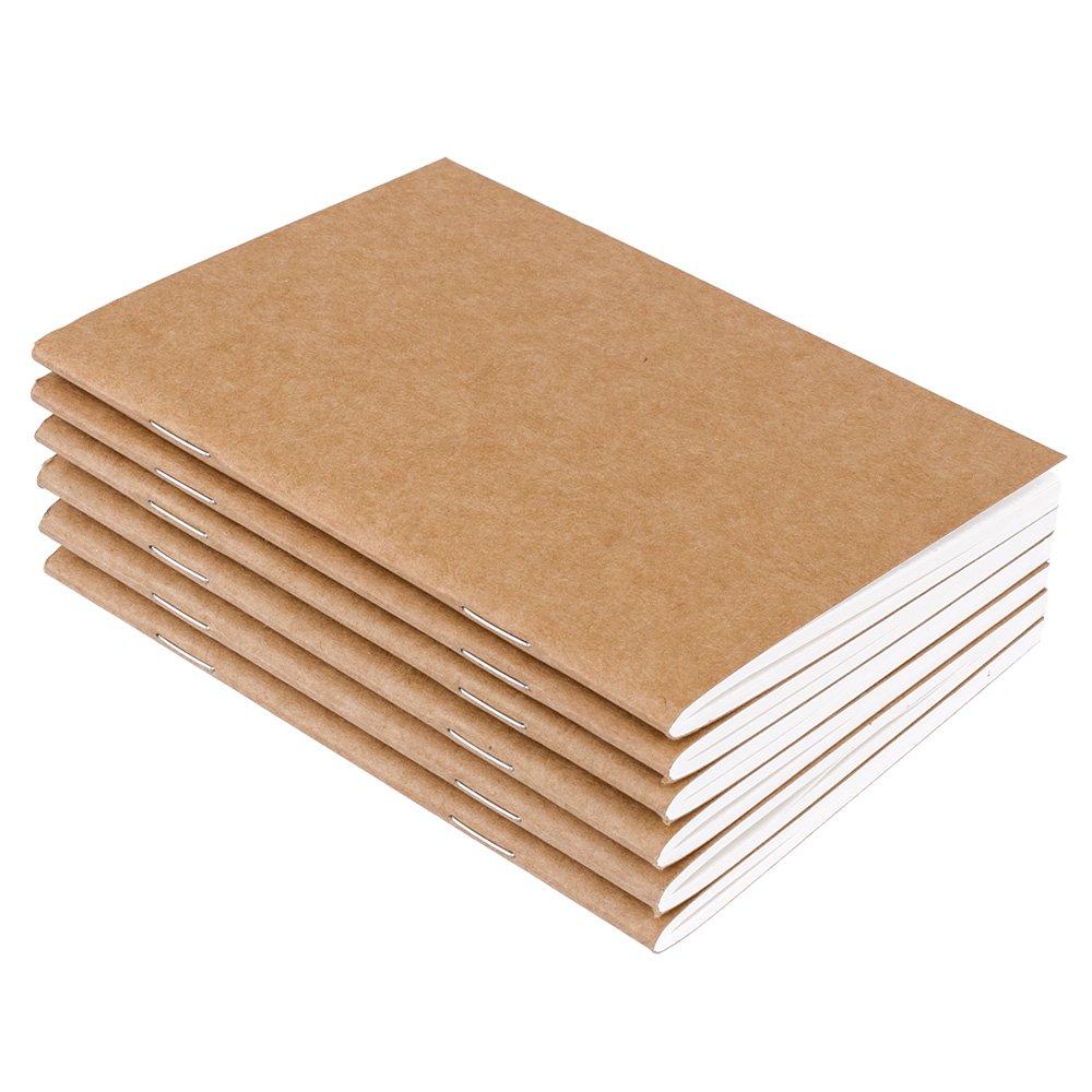 64 p/áginas rayadas color marr/ón kraft Cuadernos de notas con forro para cuaderno tama/ño de pasaporte 6 unidades