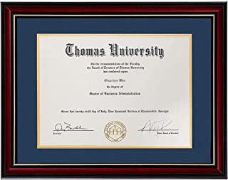 product image for flag connections Diploma Frame Real Wood & Glass Golden Rim Sized 8.5x11 Inch with Mat and 11x14 Inch Without Mat for Documents Certificates