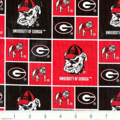 Sykel Enterprises Collegiate Cotton Broadcloth University of Georgia Bulldogs Fabric by The Yard, Red