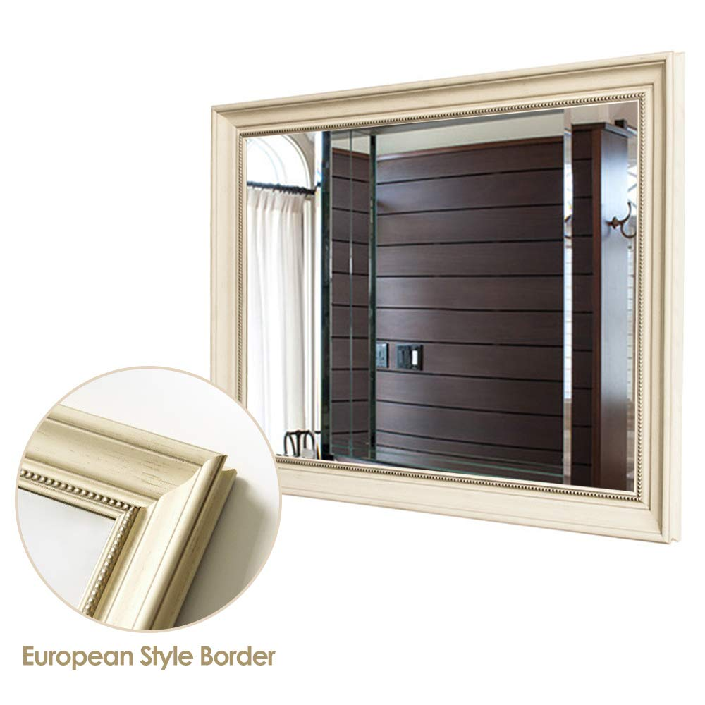 Neu-Type NT-GJ-IW3224 32x24 Two Hanging Ways 32x24 NeuType Large Bathroom Mirrors Wall Mounted Mirrors for Bathroom Bedroom Living Room,European Style Vanity Mirror,Ivory White High Polymer Material Frame,Burst-Proof Glass,Two Hanging Ways