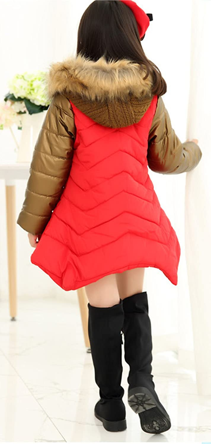 LOSORN ZPY Girls Warm Cotton Padded Coat Stylish Winter Jacket with Fluffy Hoodie