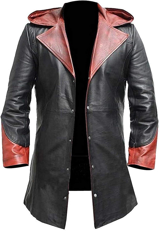 Mens Super Hero DMC Davil May Cry Dante Coat Halloween Synthetic Leather Hood