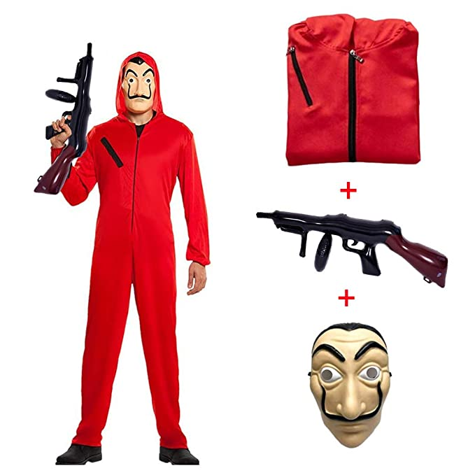 Disfraz de La casa de Papel para Disfraz Ladrón Disfraces Carnaval Halloween. Incluye un Traje con Capucha y una Dali máscara Ametralladora Hombre ...