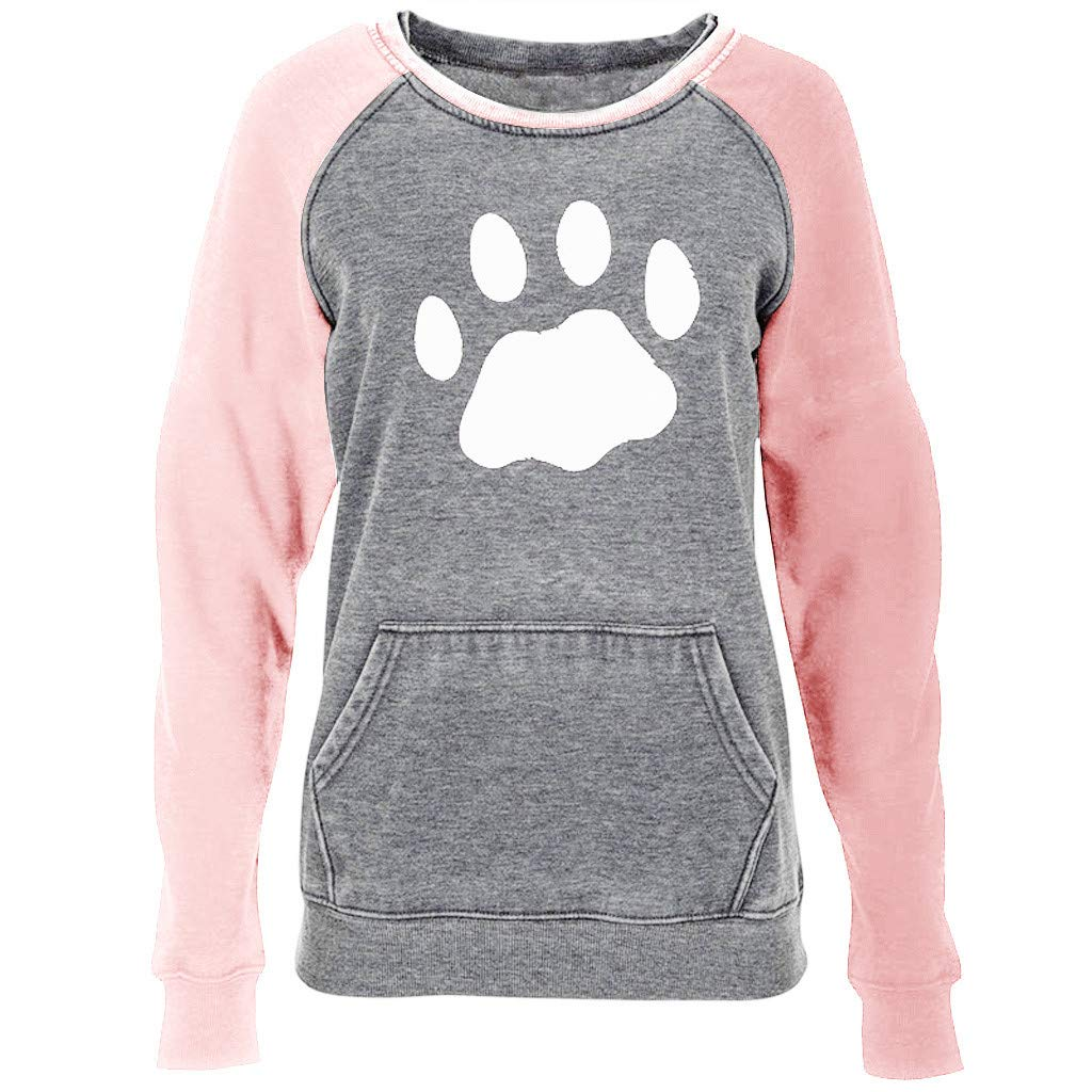 〓COOlCCI〓Womens Long Sleeve Cat Claw Print Pullover Sweatshirts for Women Casual Top Blouse Novelty Sweatshirt Pocket Pink by COOlCCI_Womens Clothing