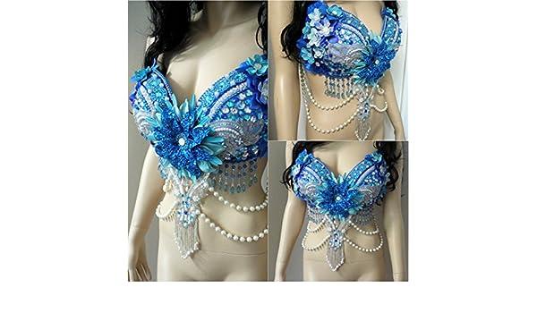 583745d519793 Amazon.com  Glitter Turquoise Beaded Flower Fairy Rave Bra Dance Costume   Handmade