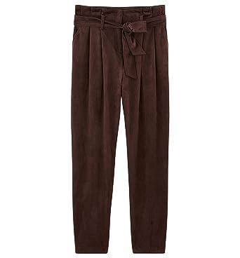 4e34fd053534b7 Promod Pantalon en suédine Femme Marron 36: Amazon.fr: Vêtements et ...