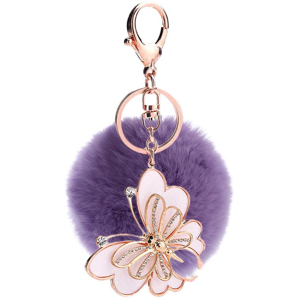 Mxixi couleur artificiel unie lapin boule de fourrure papillon pendentif porte-clés moelleux sac à main charme clé anneau clé de voiture décoration (rose)