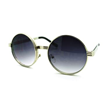 steam punk binocular style thick metal frame circle lens sunglasses silver