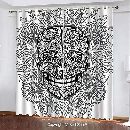 FashSam Blackout Curtains Set Room Darkening Drapes Gothic Smiling Skeleton Head with Flowers Day of The Dead Mexican Traditional Window Treatment Pair for -