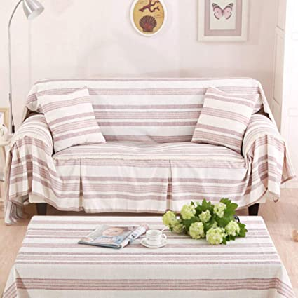 Amazon.com: GX&XD Cotton Linen Stripe Fit Couch Slipcover ...
