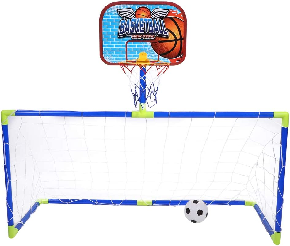 VGBEY Juego de Juguetes de Baloncesto de fútbol, Juego de Piscinas de portería de fútbol para niños Juego de aro de Tablero Trasero de Baloncesto Mini Pelota de Juguetes