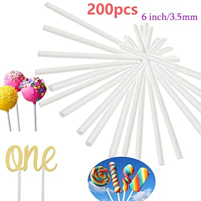 200PCS 6 Inch White Paper Lollipop Sticks, Sucker Stick for Chocolate, Cake Topper, Rainbow Candy, Cake Pops, 3.5mm: Kitchen & Dining