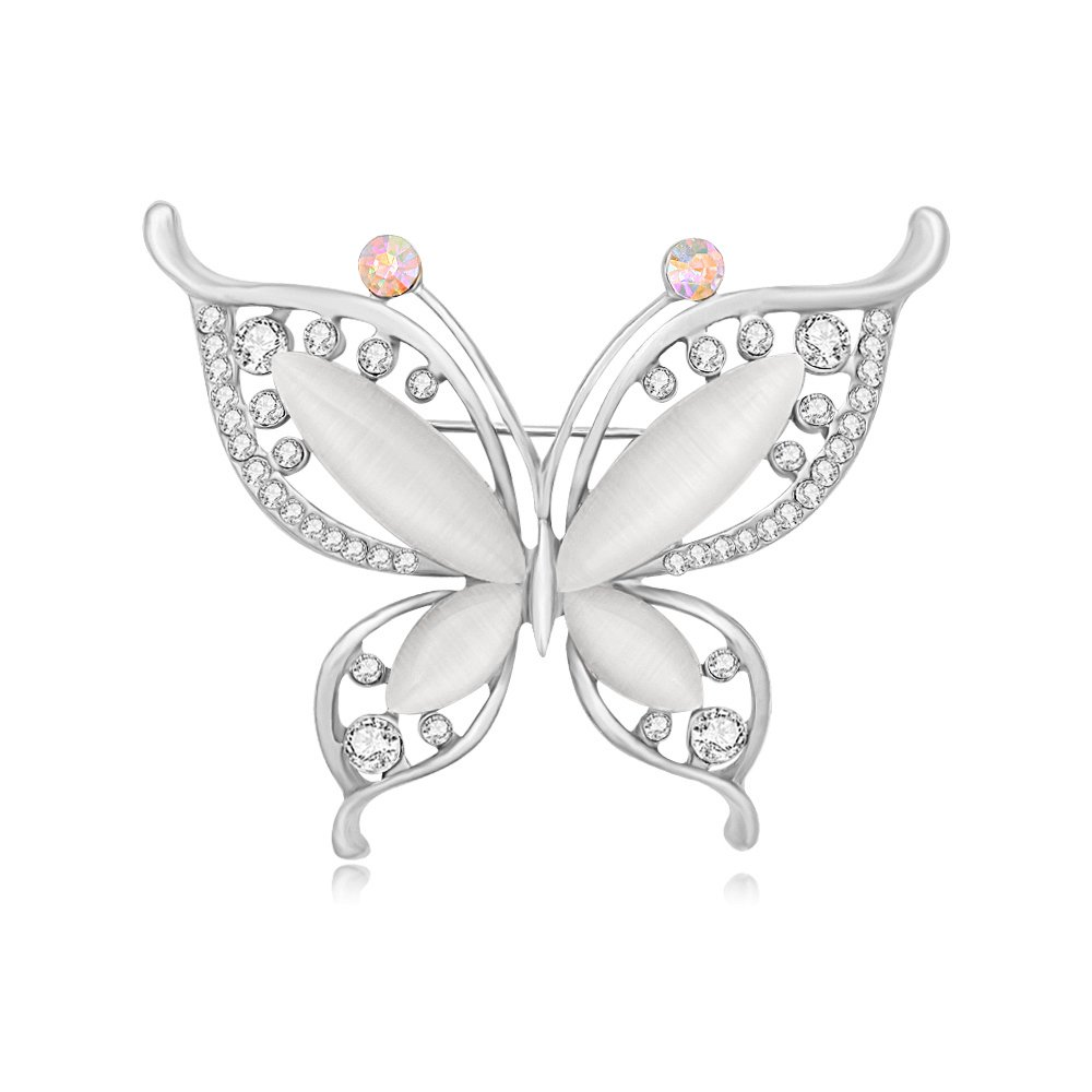 BEICHUANG Rhinestone Crystal Butterfly Elegant Insect Brooch Pin Romantic Wedding Party Graduation Perfect Gift (silver)
