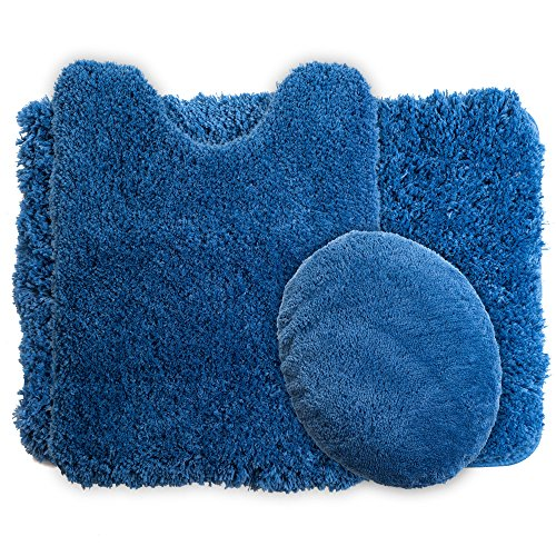 Lavish Home 3-Piece Super Plush Non-Slip Bath Mat Rug Set, -