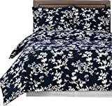How Wide Is a California King sheetsnthings 9 Piece Bed in A Bag Cal King Size Includes: 100% Cotton- Navy/White Lucy Printed Duvet Cover Set +300TC, White(Sheet Set +Bed Skirt) +All Season White Down Alternative Comforter