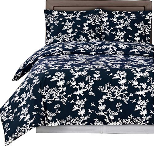 sheetsnthings 9 Piece Bed in A Bag Cal King Size Includes: 100% Cotton- Navy/White Lucy Printed Duvet Cover Set +300TC, White(Sheet Set +Bed Skirt) +All Season White Down Alternative Comforter - Lucy Sheet Set
