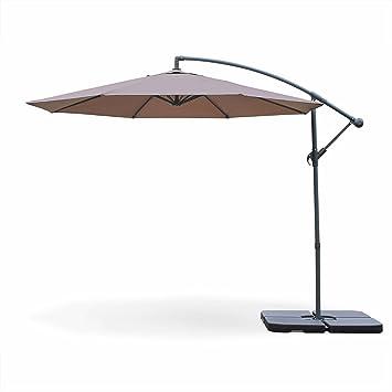 Alices Garden Parasol Déporté Rond ø300cm Hardelot Taupe Manivelle Anti Retour Toile Déperlante Facile à Utiliser