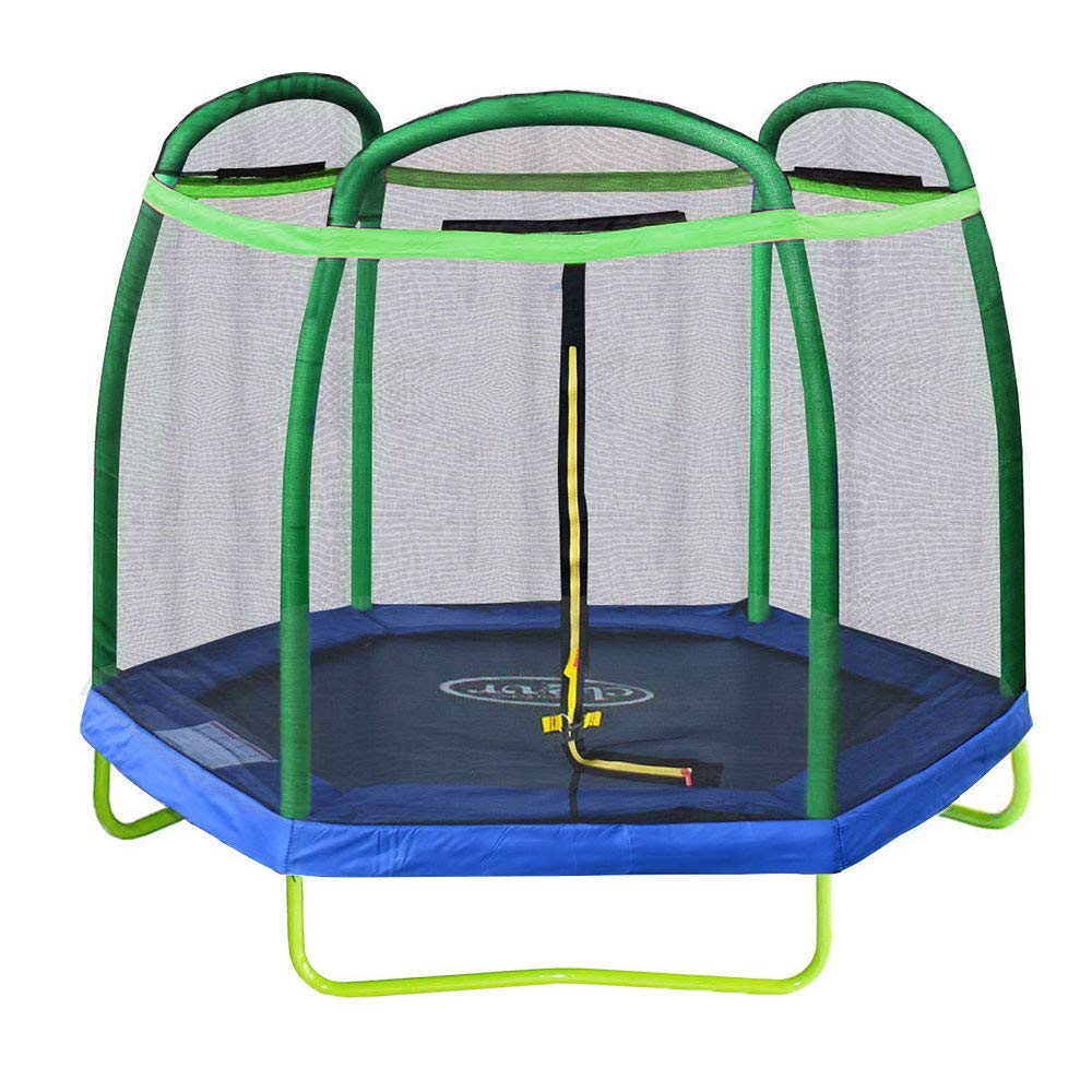 Clevr 7ft Kids Trampoline with Safety Enclosure Net & Spring Pad, 7-Foot Outdoor Round Bounce Jumper 84'' Indoor/Outdoor, Built-in Zipper Heavy Duty Frame, Green and Blue | Great Birthday Gift by Clevr