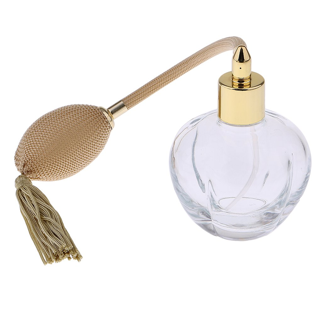MagiDeal Crystal Vintage Glass Empty Refillable Perfume Bottle with Spray Atomizer 100ML Yellow