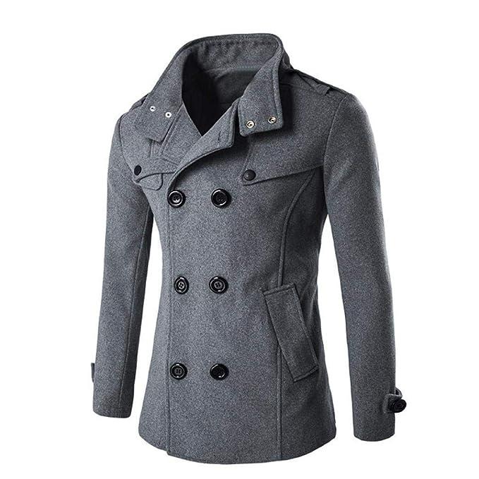 Cappotto Doppiopetto da Uomo Lungo Bavero Collo con Trench Abbigliamento  Cappotto Vintage Invernale da Uomo Cappotto da Uomo Parka con Duffle da Uomo  ... 22b71a8ac35f