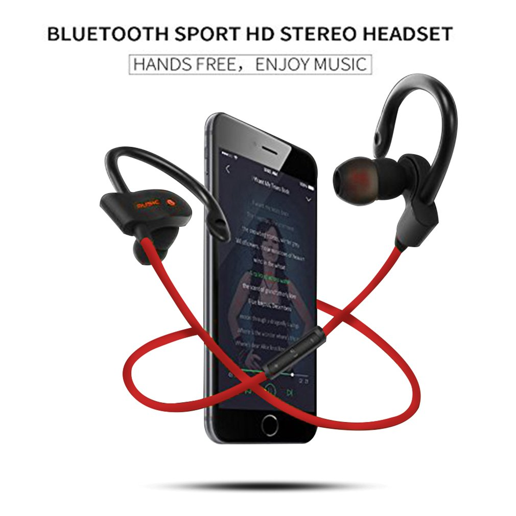 XPLUS Bluetooth Headphones, Bluetooth Earphones with Mic Bass Noise Cancelling, New Trent Bluetooth Sport HD Stereo Headset In-ear Earbuds Earphones with Flexible Ear Hooks (Black) (Q7G) (M5R)