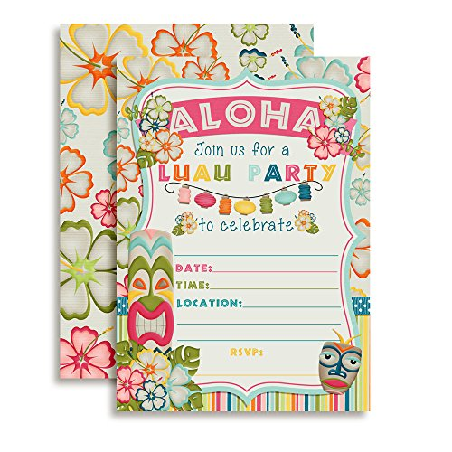 Amanda Creation Tropical Luau Birthday Party Fill in Invitations Set of 20 with envelopes Perfect for Summer and Hawaiian Themed Parties]()