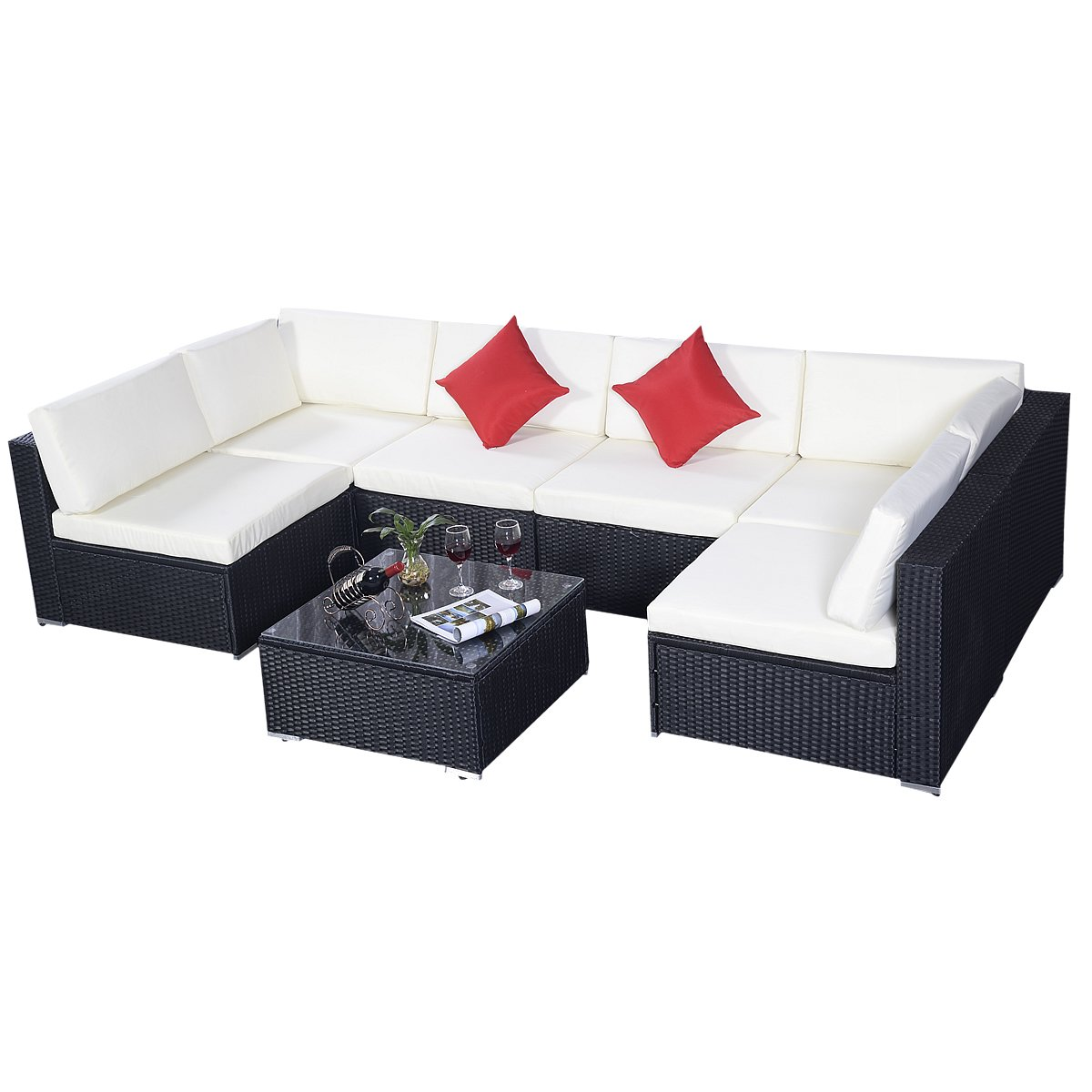 poly rattan set gartenm bel lounge polyrattan sitzgruppe rattanm bel garnitur garten 7er set. Black Bedroom Furniture Sets. Home Design Ideas