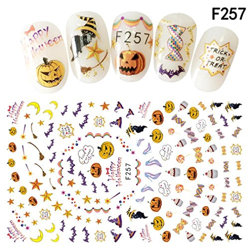 Nail Art Stickers,Putars Fashion Nail Art Decals Halloween Manicure Transfer Stickers (F) -
