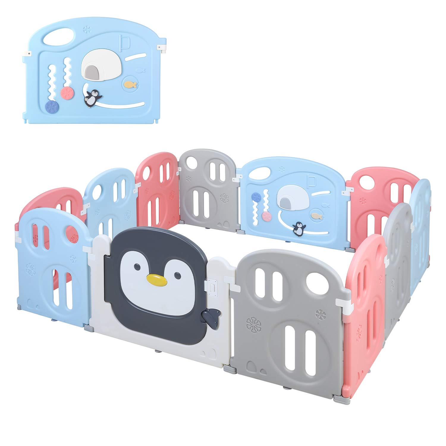 "POTBY Baby Playpen 12 Panel Kids Activity Center Playard, Penguin Pattern with Game Gate &Double Lock Door Gate& Storage Pocket, Fun Time Home Indoor Outdoor Fence for Toddler Boys Girls, 70""x 59"""
