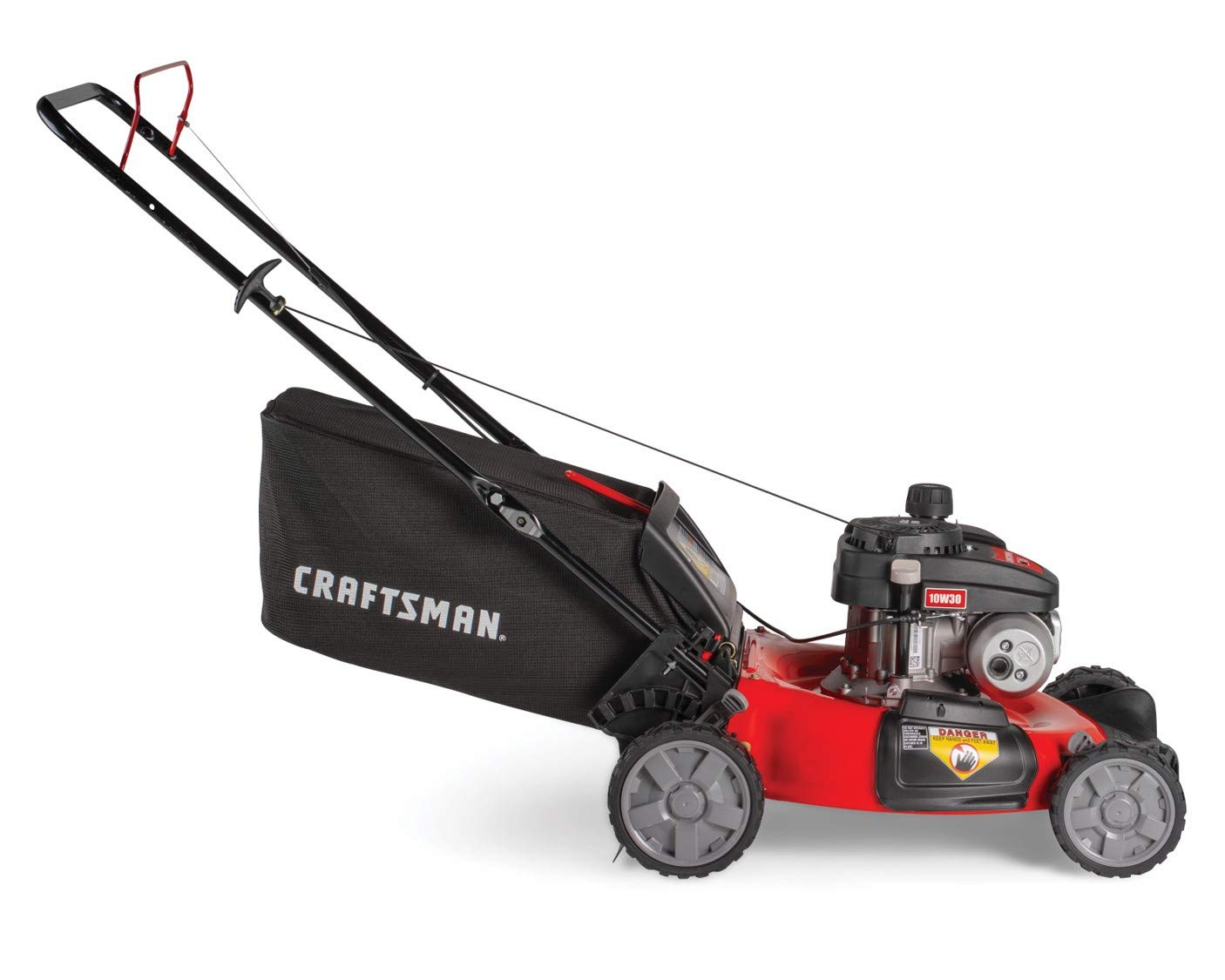 """Craftsman M105 140cc 21-Inch 3-in-1 Gas Powered Push Lawn Mower with Bagger, 1-in, Liberty Red 3 Your purchase includes One Craftsman M105 140cc Gas powered Push Lawn Mower, One bagger and engine oil Lawn Mower width – 21"""" 
