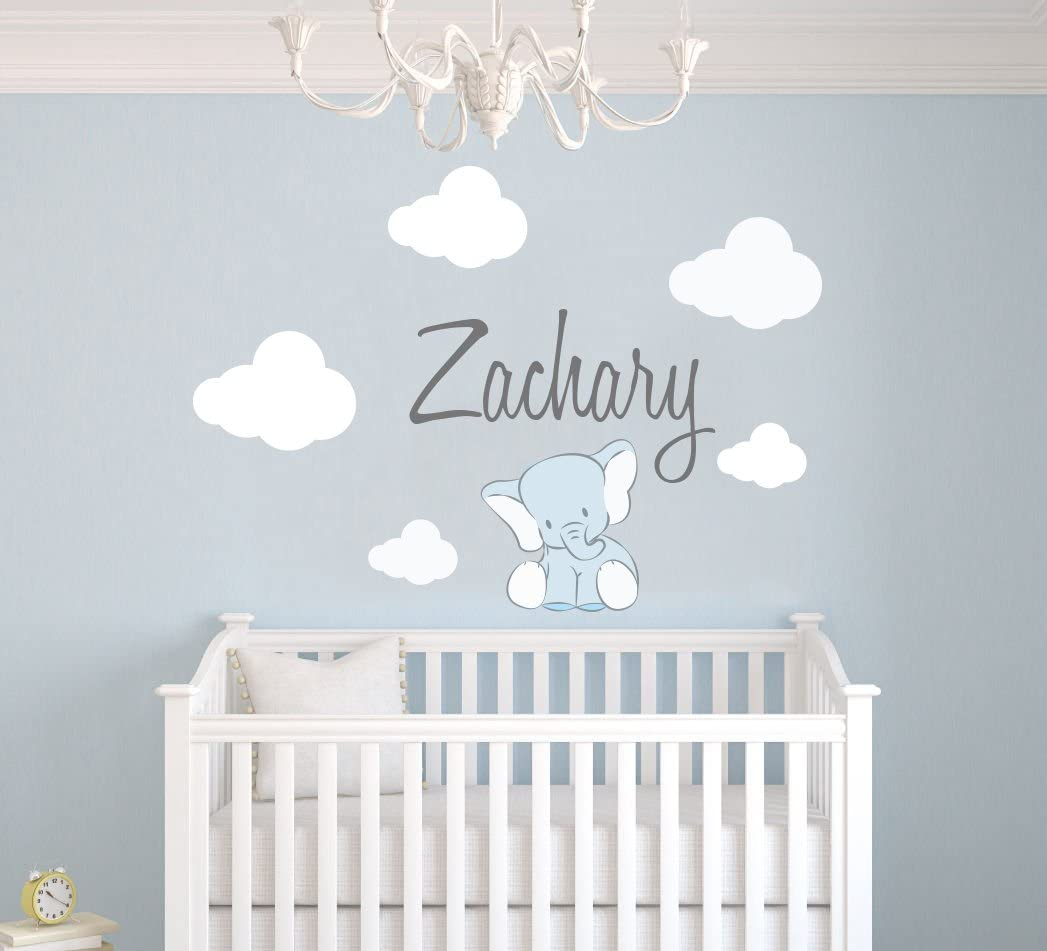 Custom Name Clouds And Elephant Animal Series - Baby Boy - Nursery Wall  Decal For Baby Room Decorations - Mural Wall Decal Sticker For Home  Children\'s ...