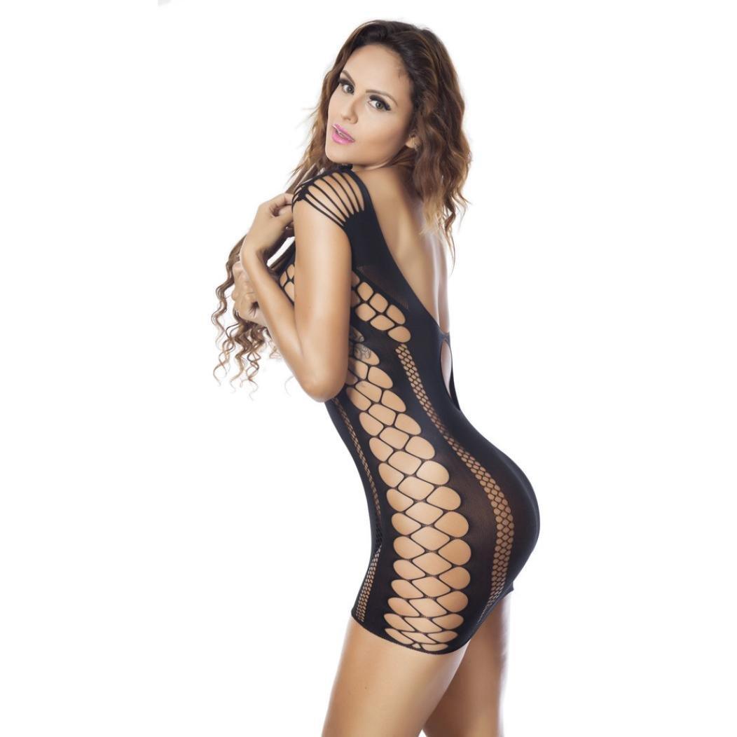 Sexy Mujeres Lencería Fishnet Sheer Open Crotch Cuerpo de Bodysuit Lencería LANSKIRT De Dormir Vestido Interior Cordón Ropa Encaje Mujeres (Negro, ...