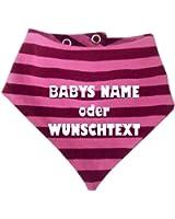 Baby - Kinder Halstuch gestreift - mit Ihrem Wunschtext oder Namen / in 9 Designs / Größen 0-36 Monate