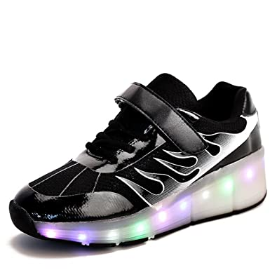 af79b496d8137e A2kmsmss5a Girls Boys LED Light Single Wheel Retractable Roller Skate Shoes  Kids Sneakers Black