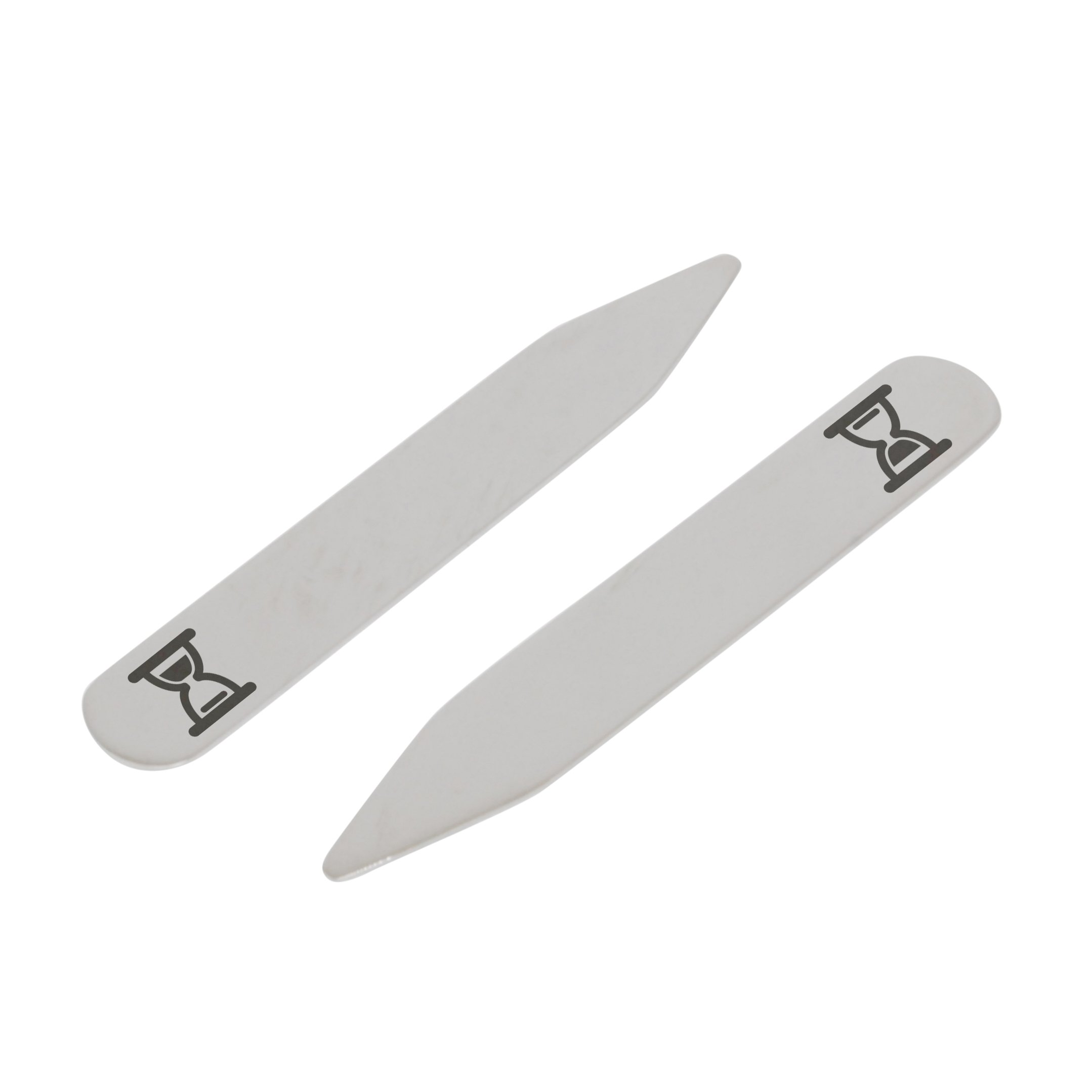 MODERN GOODS SHOP Stainless Steel Collar Stays With Laser Engraved Hourglass Icon Design - 2.5 Inch Metal Collar Stiffeners - Made In USA