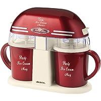 Ariete 00C063100AR0 Twin Ice Cream Maker 631 Party Time im Retro-Design der 50-er Jahre, 9 W, rotmetallic