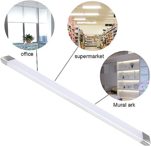 Plafoniera LED da Officina Supermercato Bianco neutro 60cm 30W 6000K 2250LM LED Tubo per Garage Garage Ufficio T11 Lampade da parete con lampada tubo integrata parapolvere
