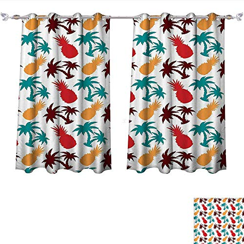 Qinqin-Home Room Darkening Thermal Insulated Lively Multi Colored Tropical Print Layered Palm Trees Island Themed Silhouettes Multi Blackout Curtain for Living Room (W55 x L45 -Inch 2 Panels) ()