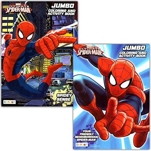 Spider-man Coloring & Activity Book Set (2 Books ~ 96 pgs each) by Marvel -