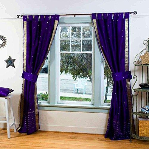 Indo Purple Tab Top Sari Sheer Curtain (43 In. X 84 In.) With Matching  Tieback