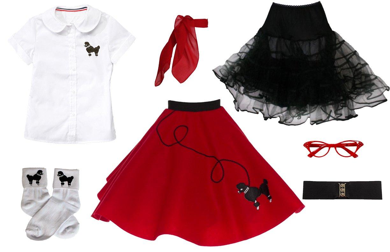Hip Hop 50s Shop 7 Piece Child Poodle Skirt Outfit, Size 10 Red