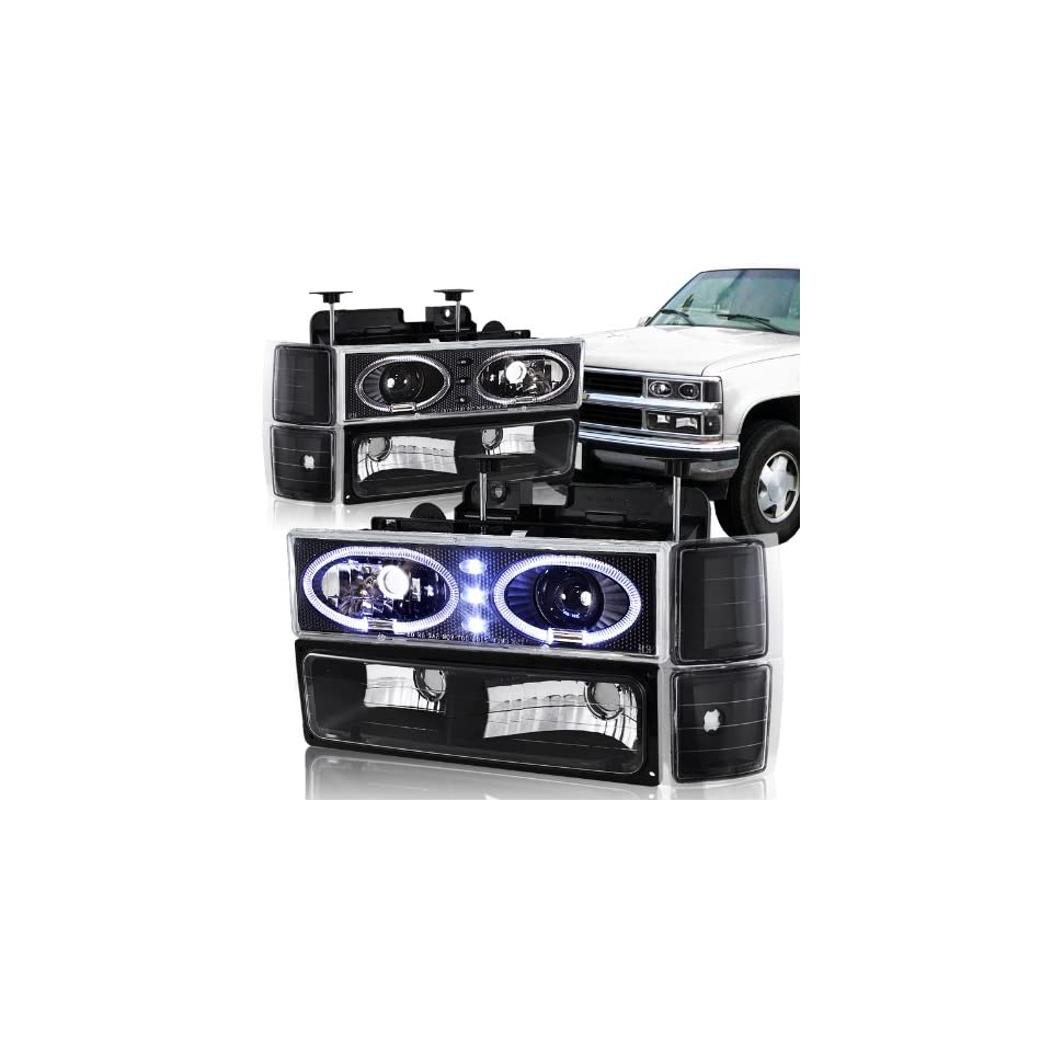 94 98 Chevy Trucks, 95 99 Chevy Tahoe Black Housing Halo Projector Headlight, Bumper Light, and Corner Light 8PC Combo