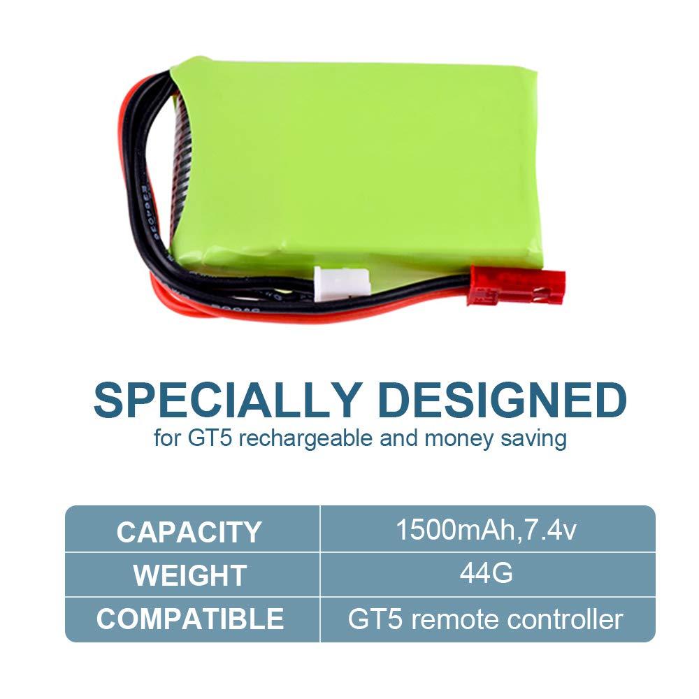 Godyluck Bater/ía 2S 7.4V 1500mAh Lipo para Controlador Remoto Flysky FS-GT5