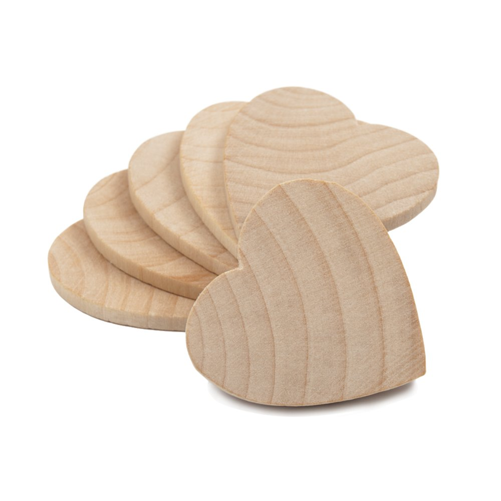 1-1/2'' Wood Hearts, Natural Unfinished Wood Heart Cutout Shape, (1.5 Inch), Wooden Heart (1-1/2 Inch Tall x 1/8 Inch Thick) - Bag of 100