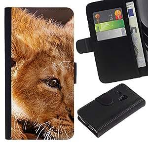For Samsung Galaxy S3 MINI NOT REGULAR! I8190 I8190N,S-type® Ginger Lion Cub Cute African King Animal - Dibujo PU billetera de cuero Funda Case Caso de la piel de la bolsa protectora