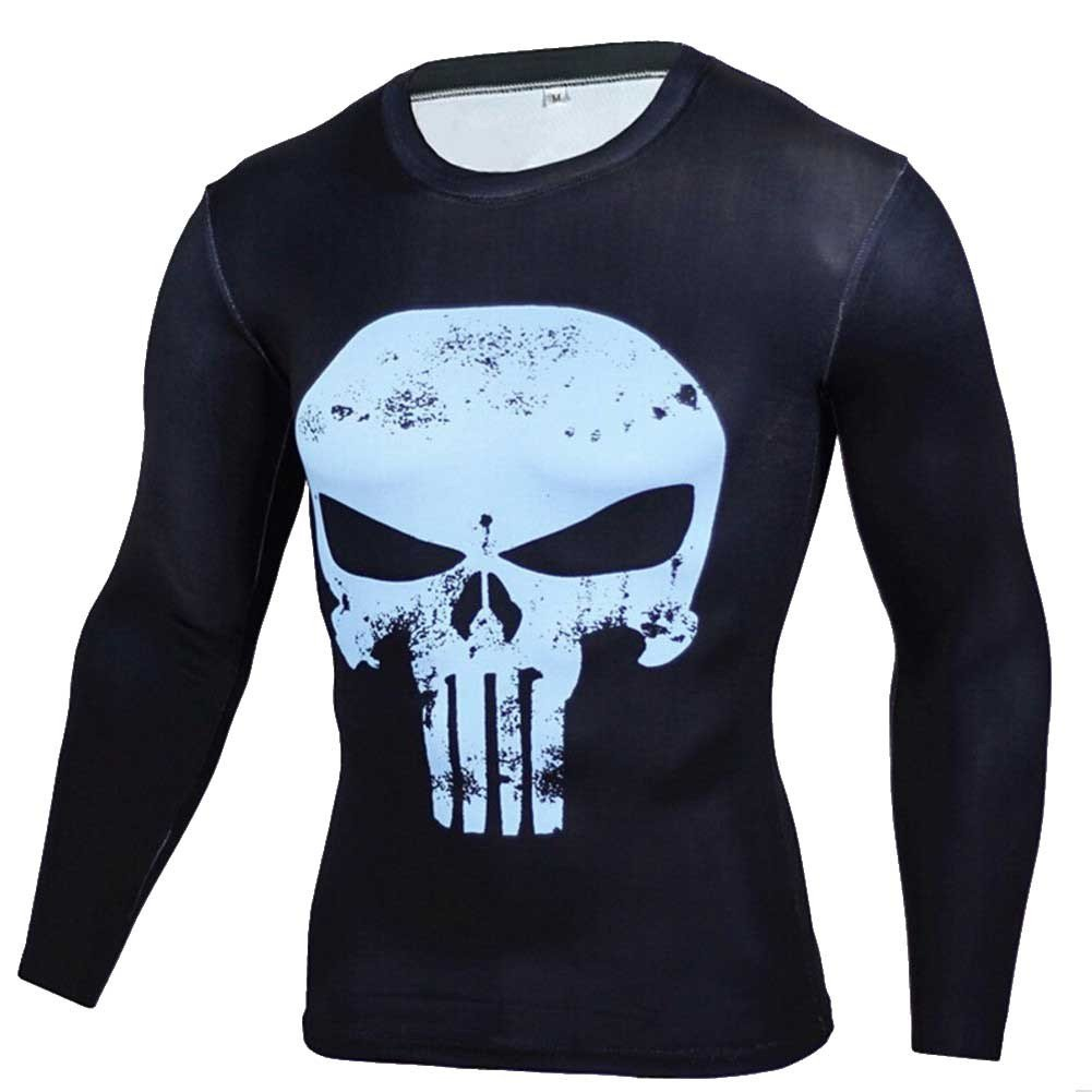 Cool Graphic Tee Dri-fit Punisher Skull Compression Shirt Long Sleeve Blue