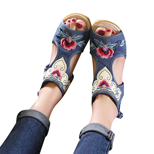 70c1097a7ebc 2019 Hot Women s National Embroidered Sandals Wedge Bow Shoes Color  Matching Fish-Mouth Hollowed Flats