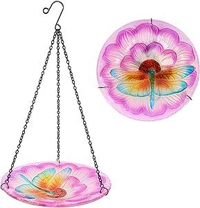 HONGLAND Bird Feeder Hanging Glass Bowl Dragonfly and Flower Birdbath for Garden,Yard,Patio,10 Inches Diameter