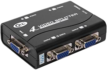 CKL VGA Splitter 4 Puertos Video Distribuidor Amplificador Daisy Cadena USB Alimentado Soporta 250MHz 1920x1400 (CKL-1041U)