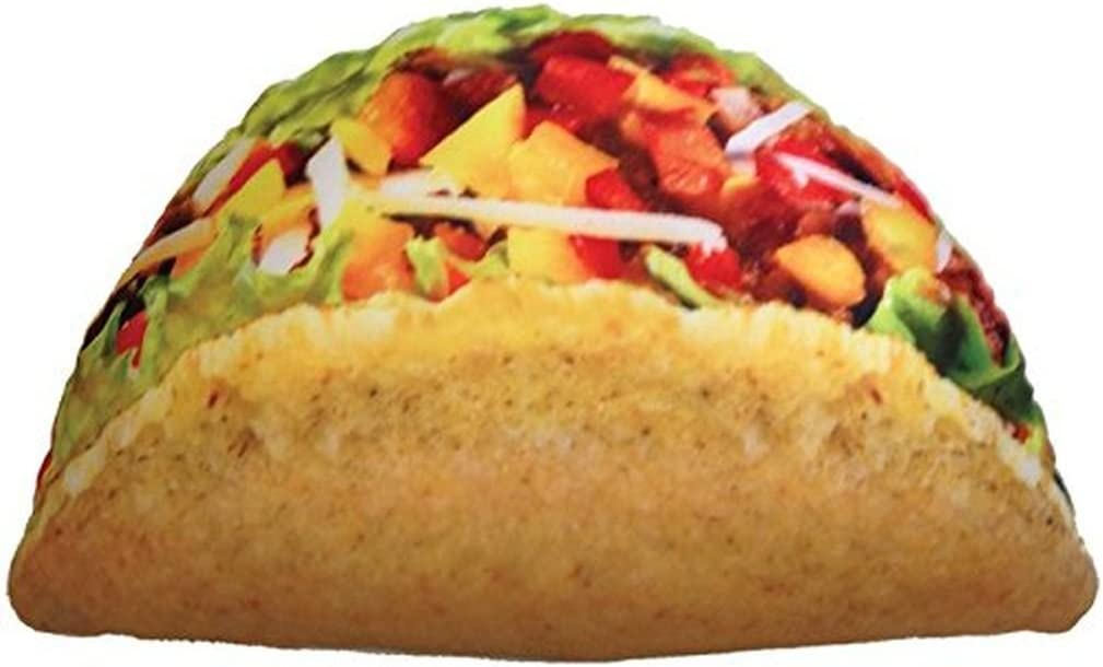 "iscream Snack Shack Photoreal Taco Shaped 20"" x 12"" Microbead Accent Pillow"